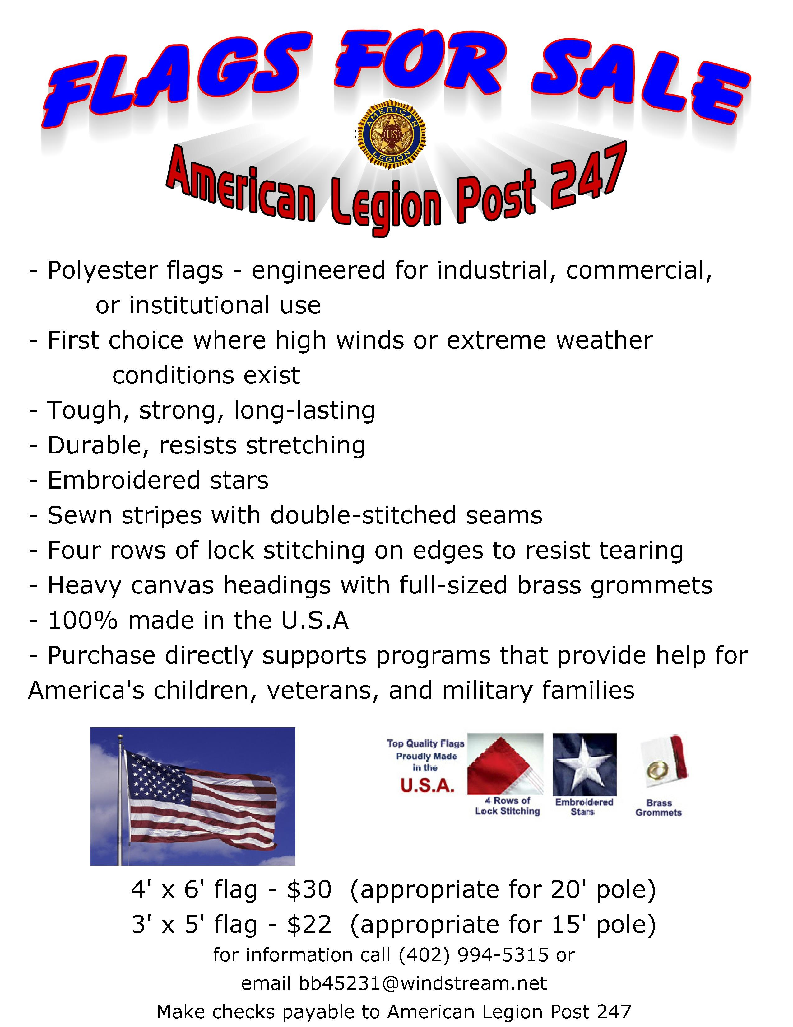 Flags for sale August 2016 page 0