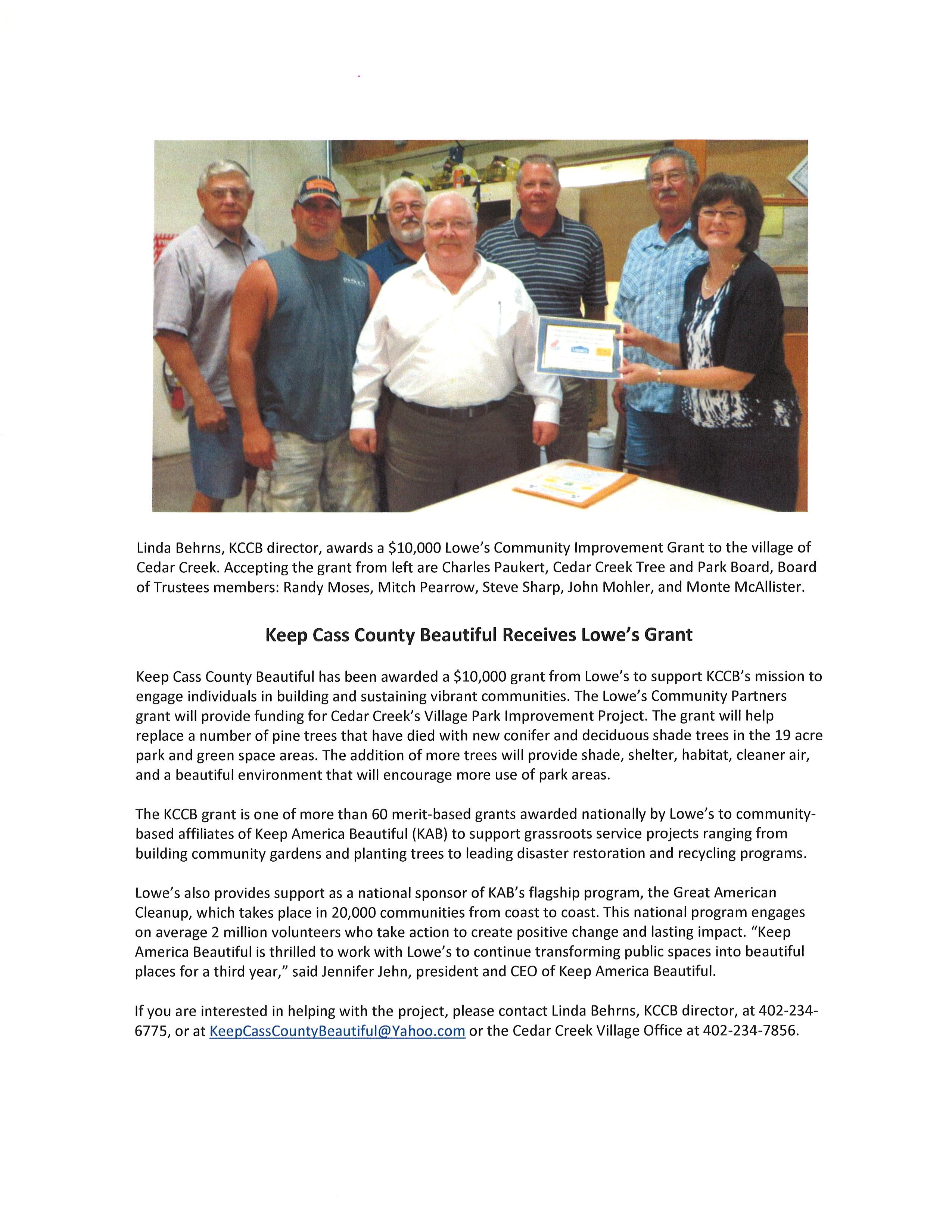 KCCB Lowes news release