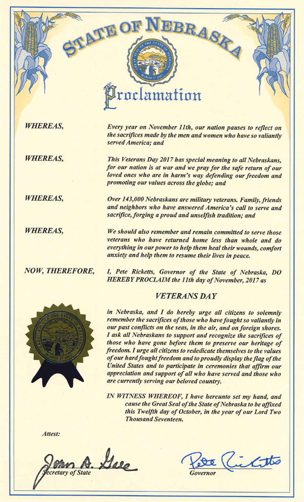 Elmwood VeteransDay Proclaim