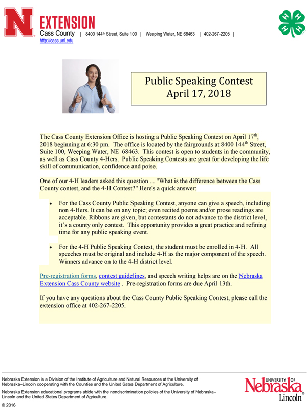 Speech Contest publicity notice