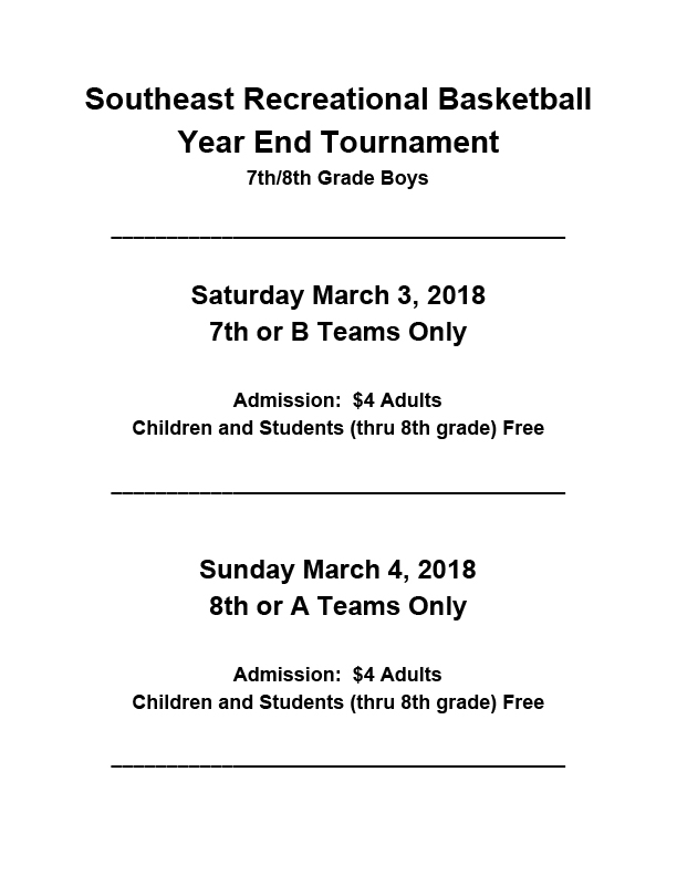 Basketball Tourney Admission and Location 2018 2