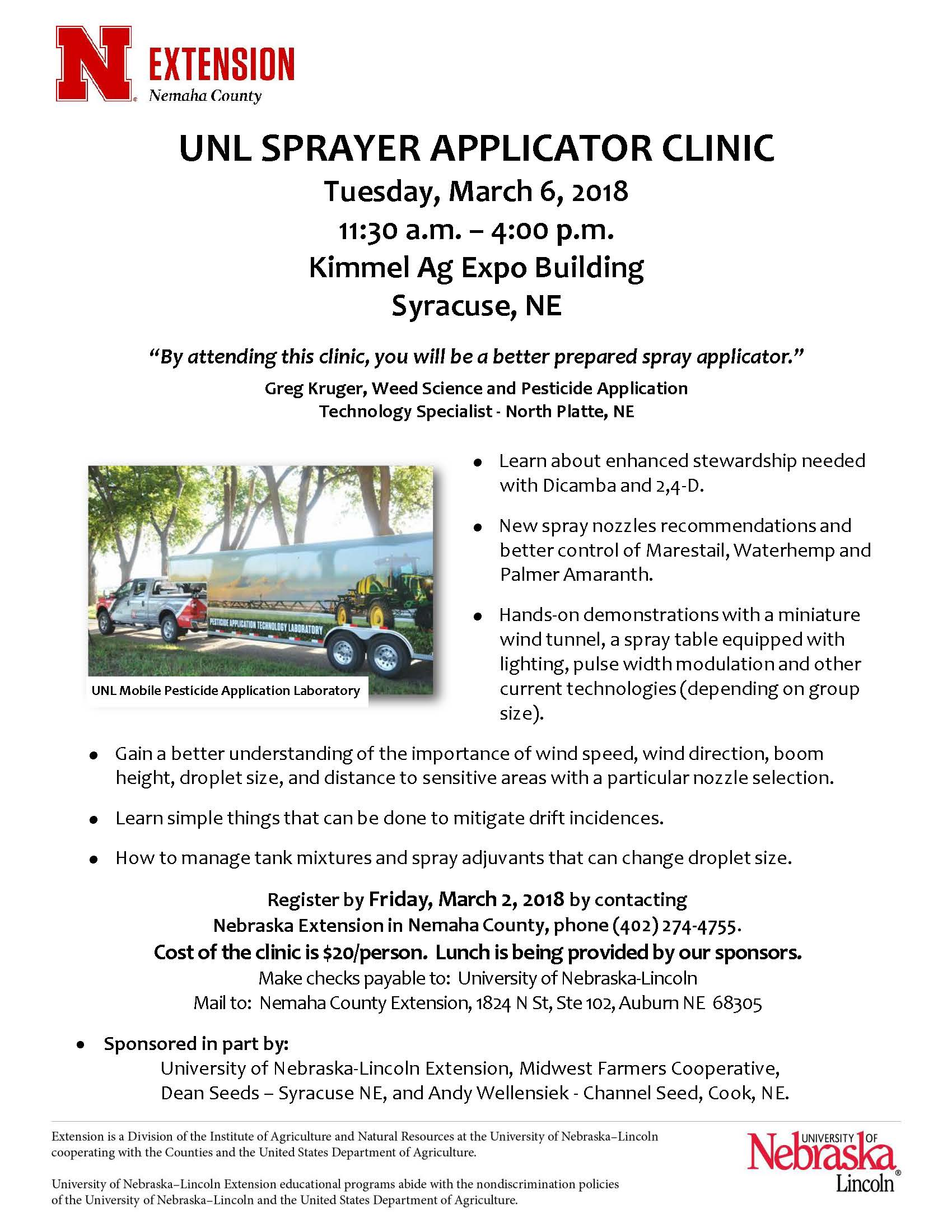 Sprayer Applicator Clinic March 2018