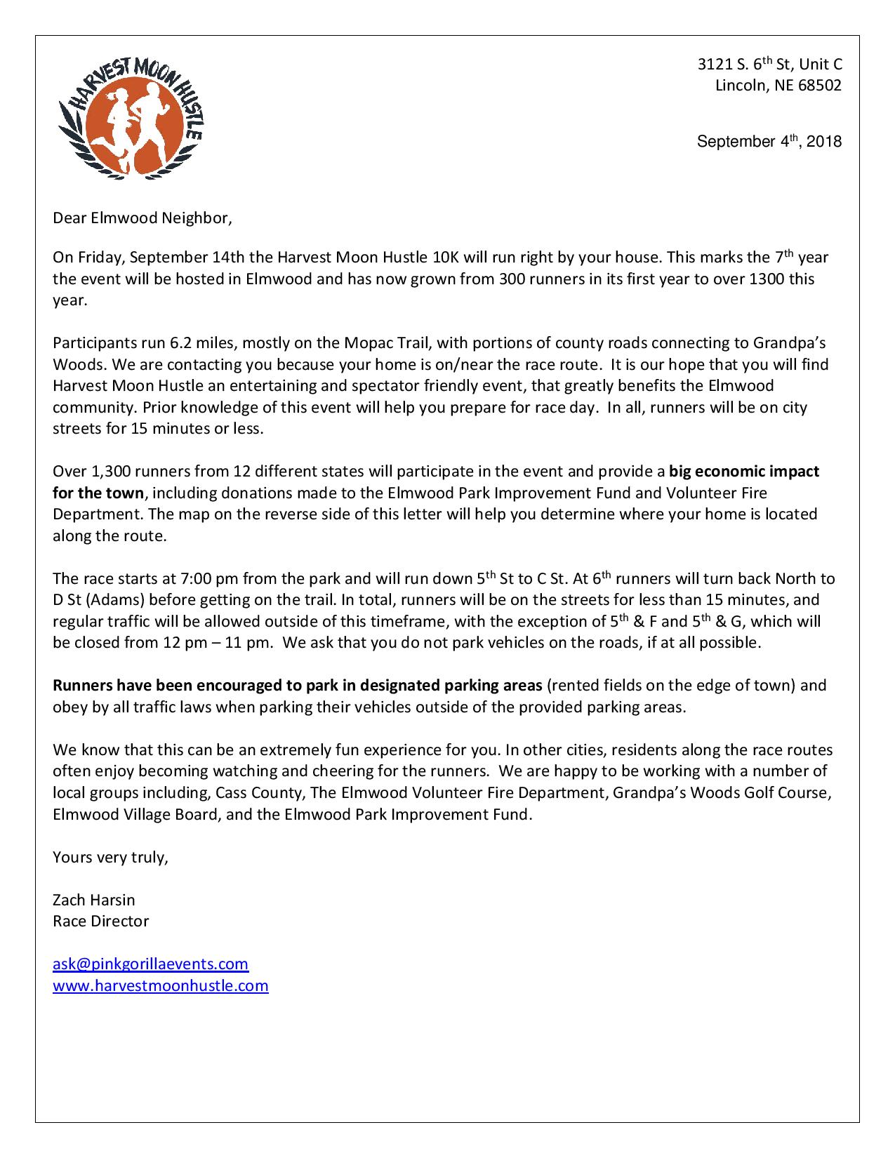 Elmwood Letter to residents along route 2018 page 001