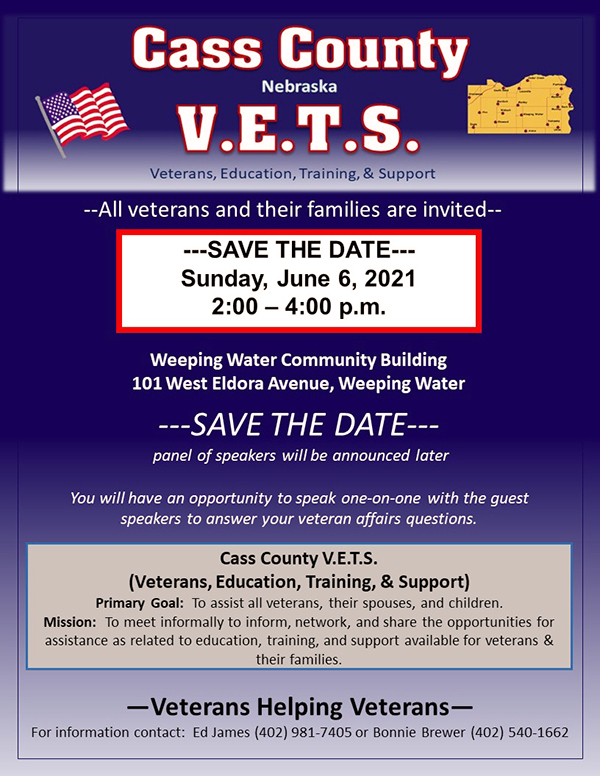 Cass County VETS June Save the Date