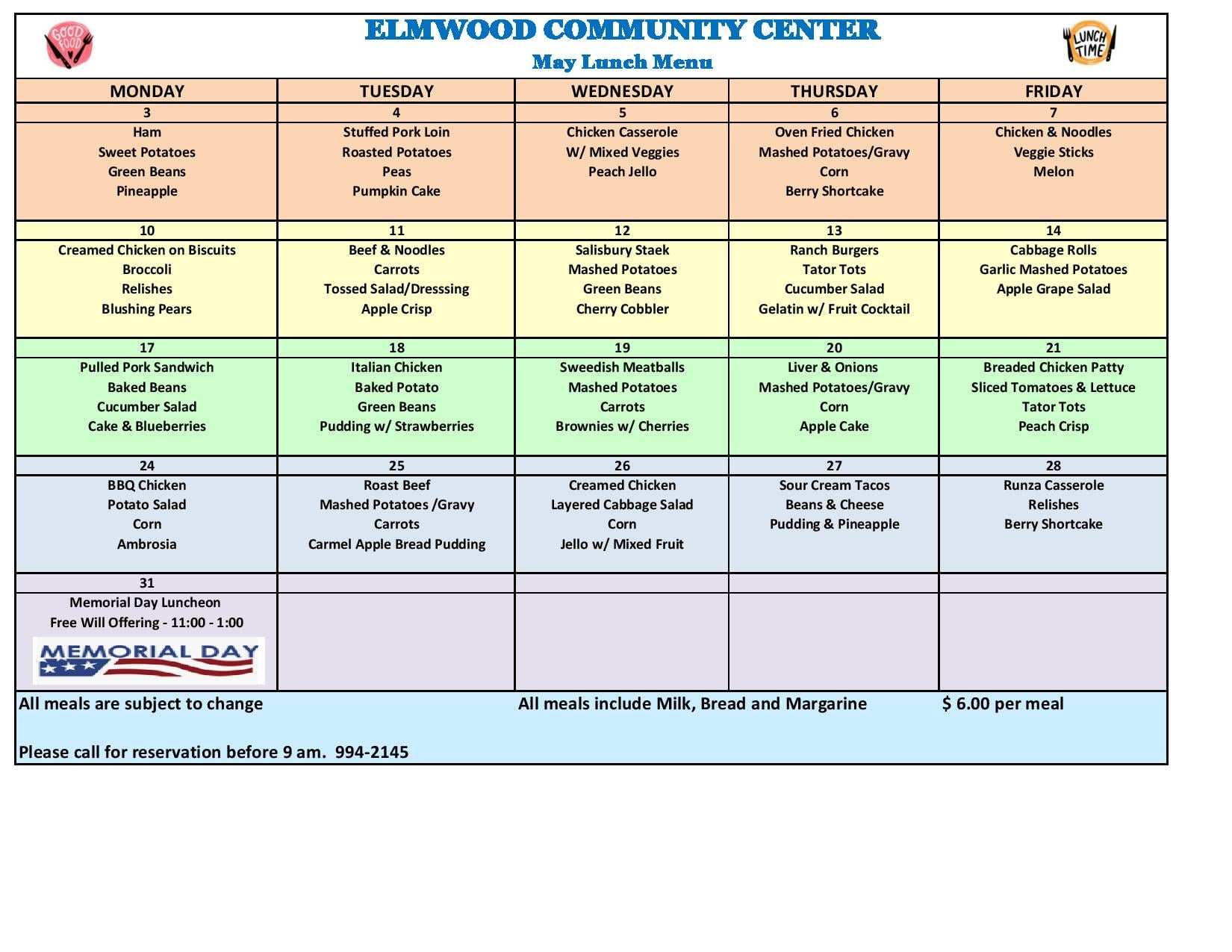 elmwood community center menu 521