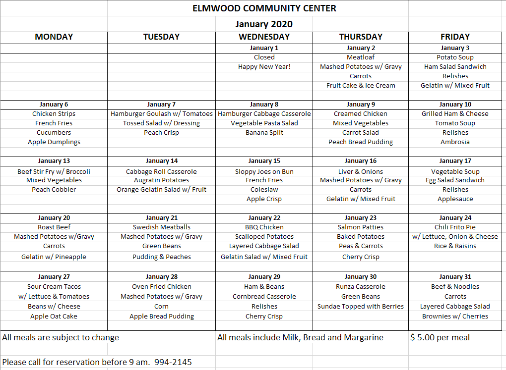 Community Center menu 12020