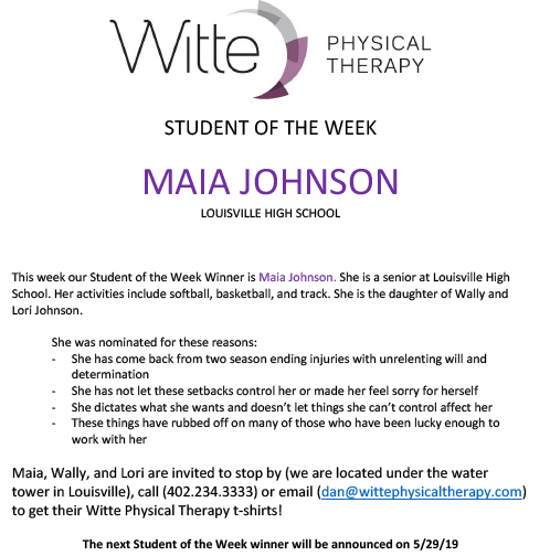 Student of the Week Selection 052219