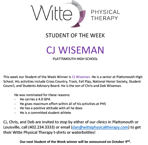 Student of the Week Selection10022019