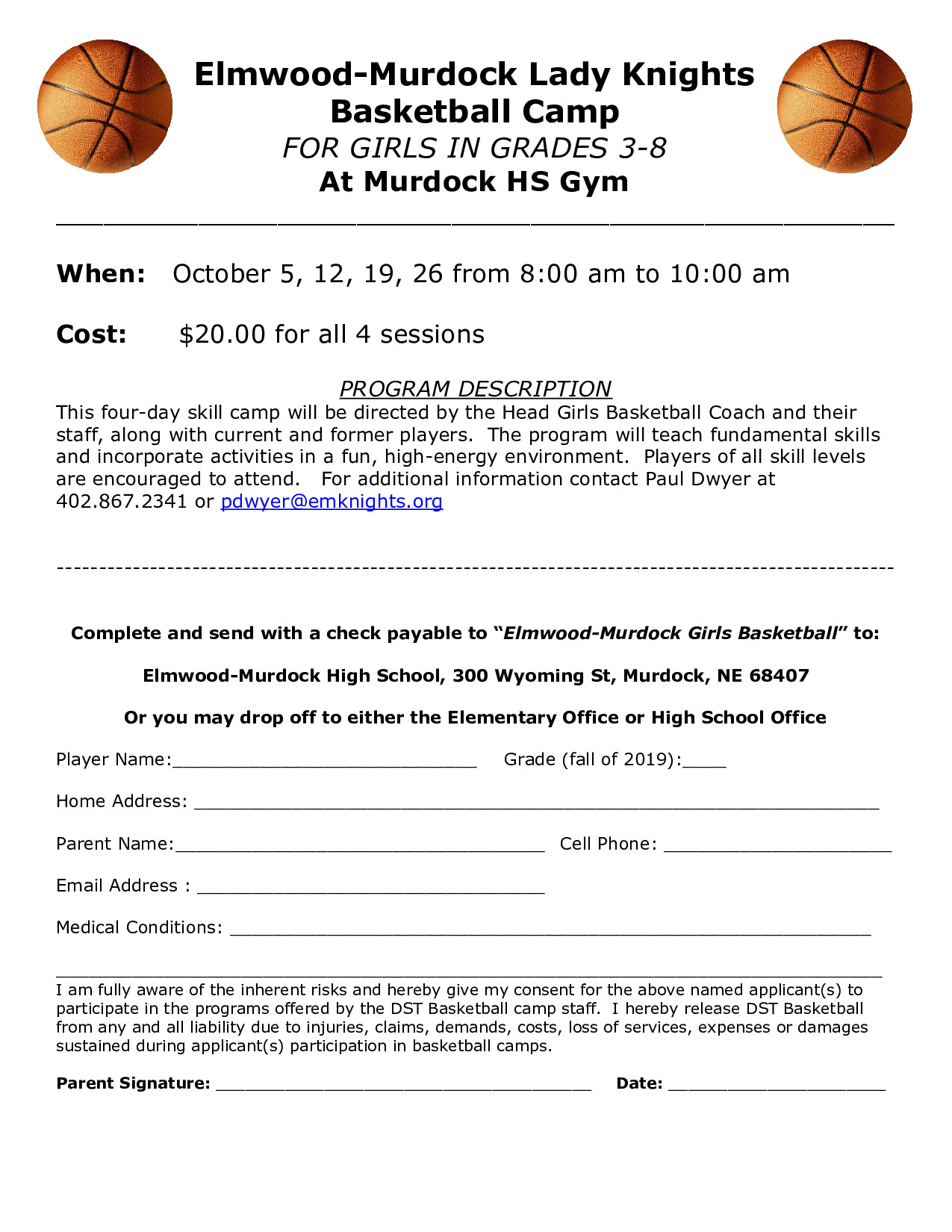 Girls Youth BB Fall Camp Form