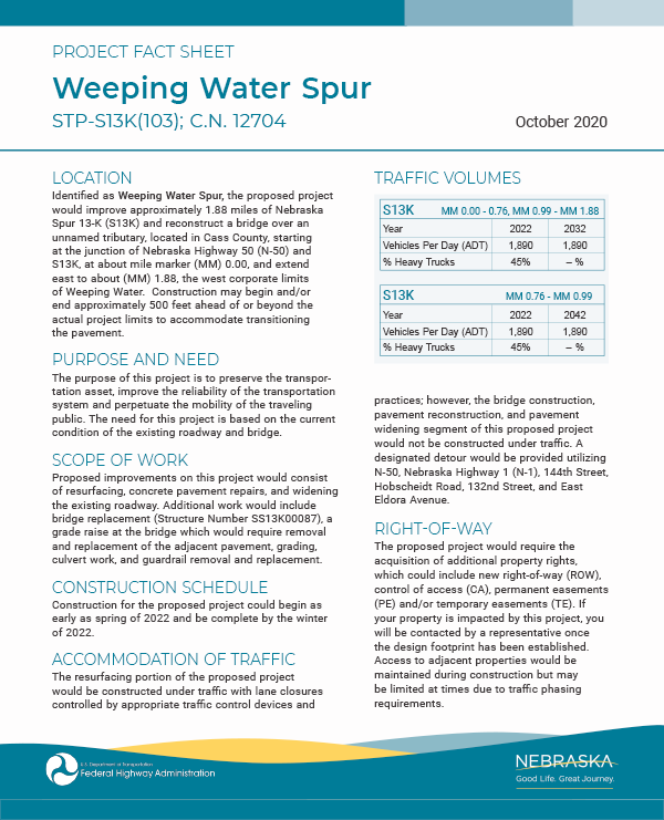 weeping water spur fact sheet 1