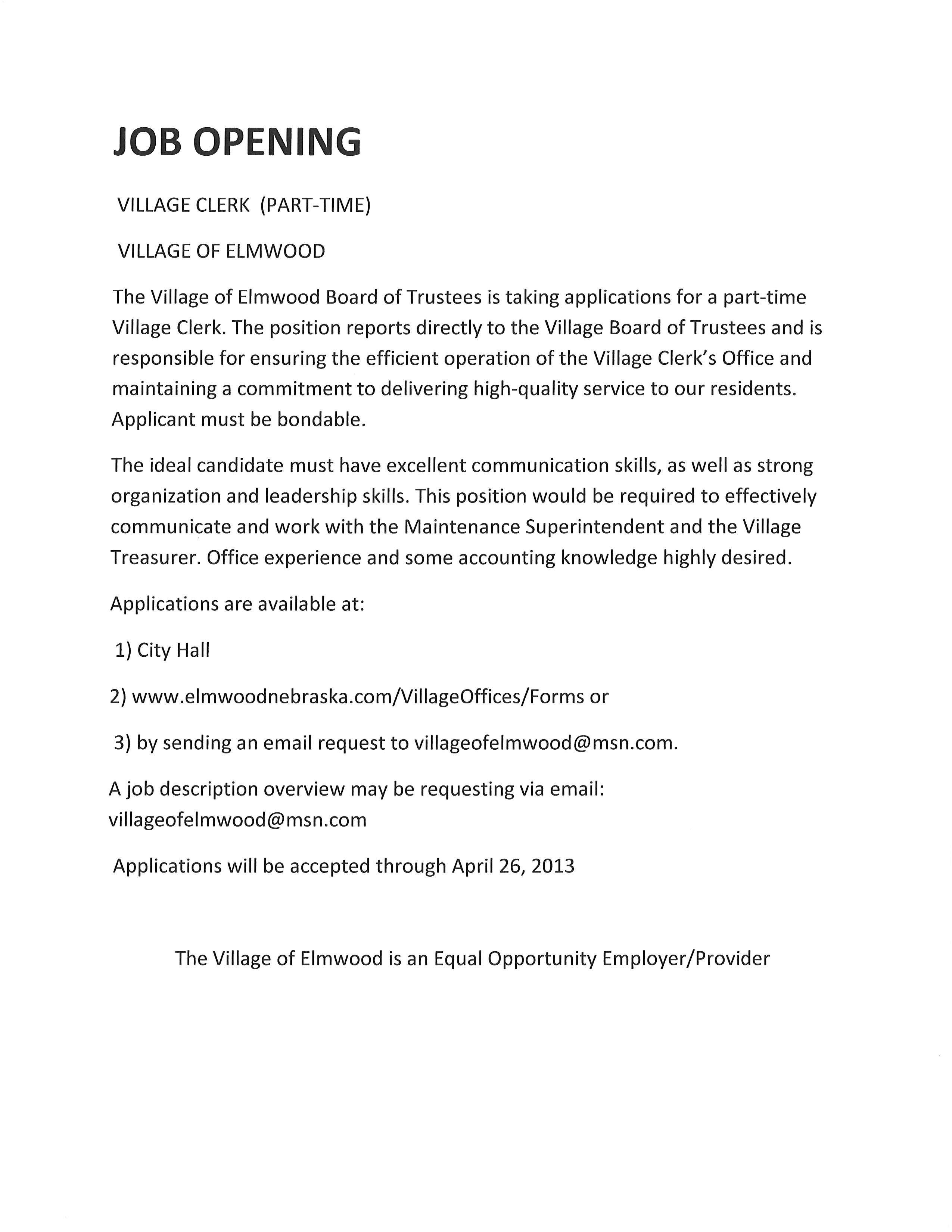 Elmwood newsletter april 24 2013 village parttimeclerkjobposting falaconquin